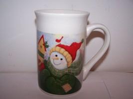 Royal Norfolk Christmas Mug Winter Snowman Bird White Red Green Coffee E... - $9.89