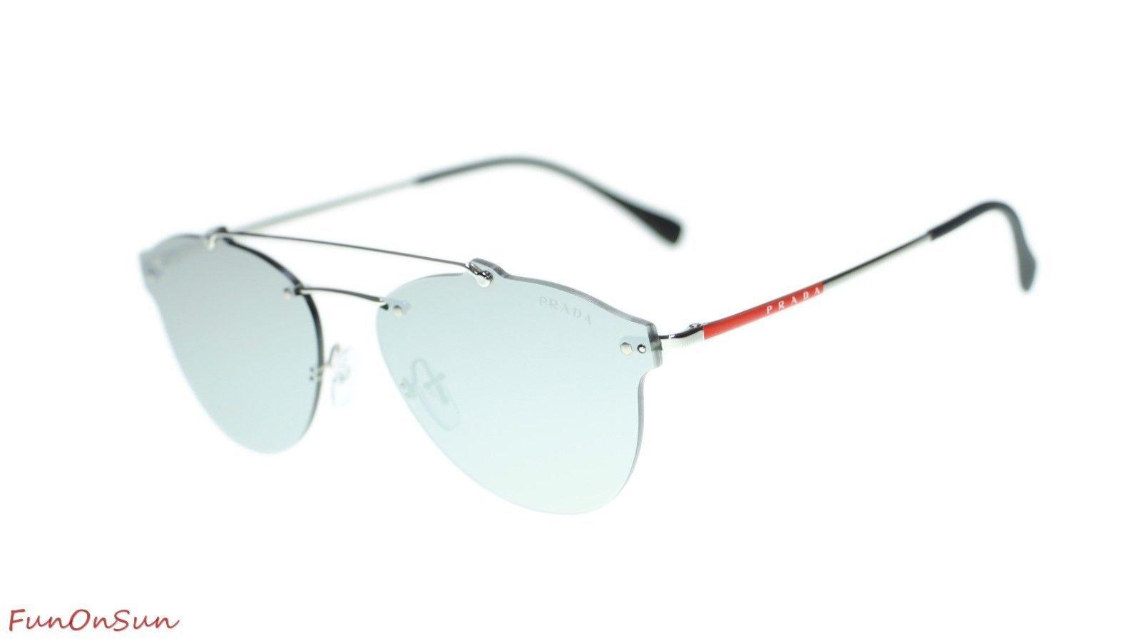 Prada Men Sunglasses PS55TS 1BC2B0 Silver/Light Grey Mirror Silver Lens 59mm