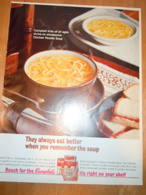 Primary image for Vintage Campbell's Chicken Noodle Soup Print Magazine Advertisement 1965