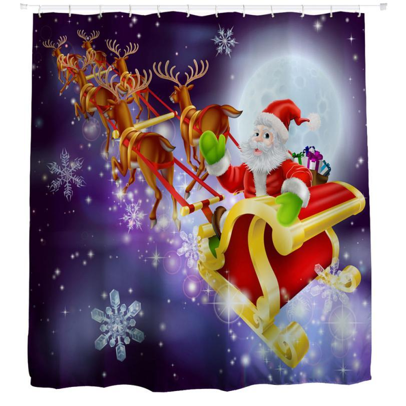 Elling christmas kidswaterproof polyester bathroom shower curtain with hooks drop shipping apr29