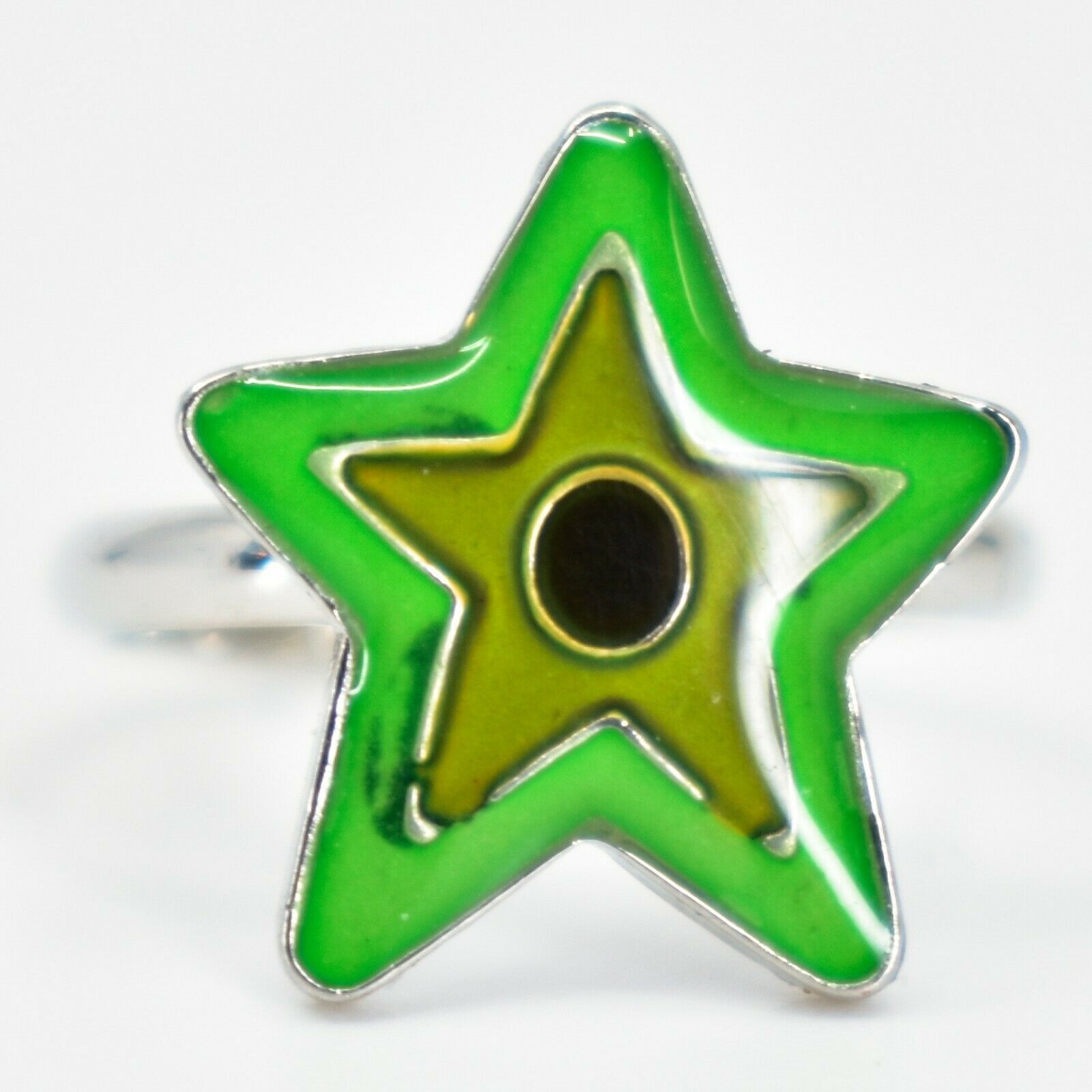 Kid's Fashion Silver Tone Star Color Changing Fashion Adjustable Mood Ring