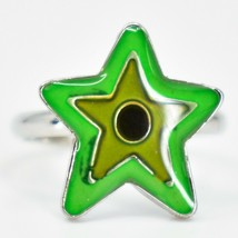 Kid's Fashion Silver Tone Star Color Changing Fashion Adjustable Mood Ring