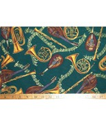1/2 yd music/horns/tubas/clarinets/mandolins/notes gold on green quilt f... - $11.99
