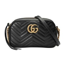 New GUCCI Marmont GG Black Leather Shoulder Bag Matelasse Small Crossbody - $1,053.10