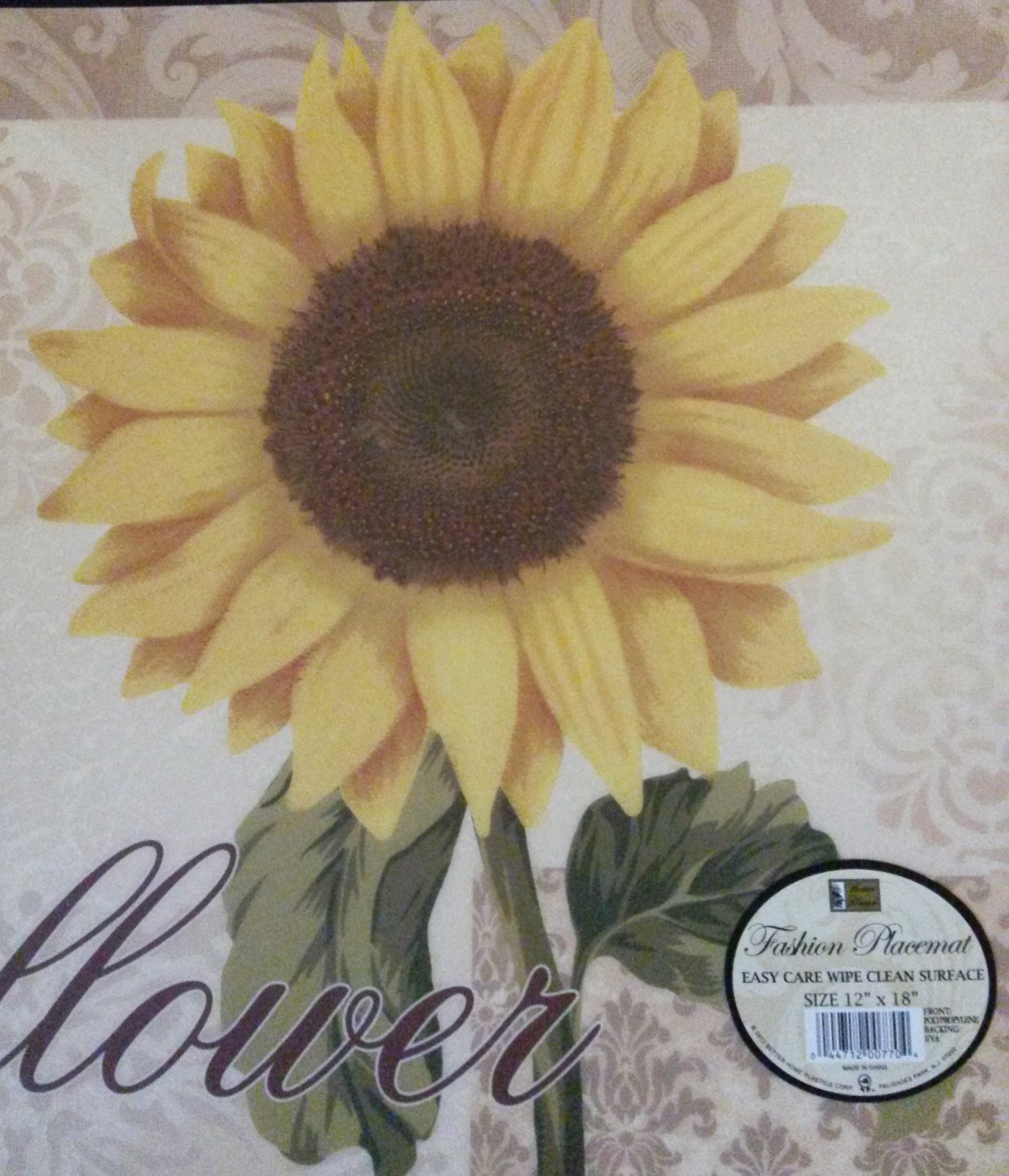 SUNFLOWER PLACEMATS Set of 4 Vinyl / Foam back Yellow Flower Floral NEW
