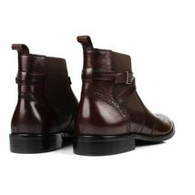 Brown Single Monk Rounded Buckle Strap Wing Tip Brogue Toe Leather Ankle Boots image 4