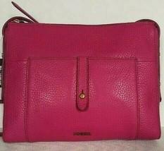 New Fossil Jenna Top Zip Leather Crossbody handbag Berry - $74.00