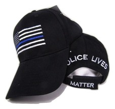 TBL USA Police Memorial Thin Blue Line Police Lives Matter Black Cap Hat cotton - $44.44