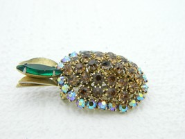 Vintage Gold Tone Topaz Green Rhinestone Pineapple Pin Brooch image 2