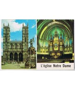 Quebec Postcard Montreal L'eglise Notre Dame Church Canada's Largest Church - $2.09