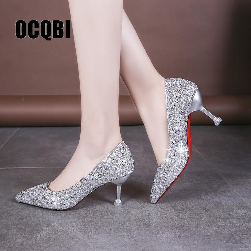 Primary image for HOT 2019 new style Wedding bride shingle high-heeled shoes pointy bridesmaid gol