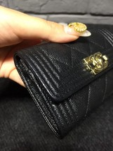 AUTH CHANEL BLACK QUILTED CAVIAR LARGE BOY TRI-FOLD COIN WALLET  image 3
