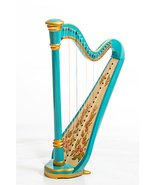 Harp 21 strings. Hand painted. Gold edging. turquoise . Vintage technology. Iris - $555.00