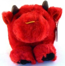 Bruno the Bull Red Puffkins Bean Bag Plush 1998 Swibco with Hang Tag - $4.74