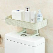 Wall Mounted Plastic Storage Rack Suction Bathroom Kitchen Shelf Basket Holder image 4