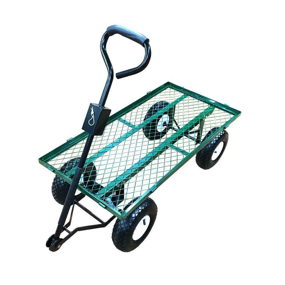 Garden Beautification Tool Steel Utility and Yard Cart with Removable Mesh Sides