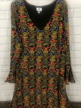 Old Navy Women 16 Dress V Neck Floral Black Multi Long Sleves Lined Side... - $18.69