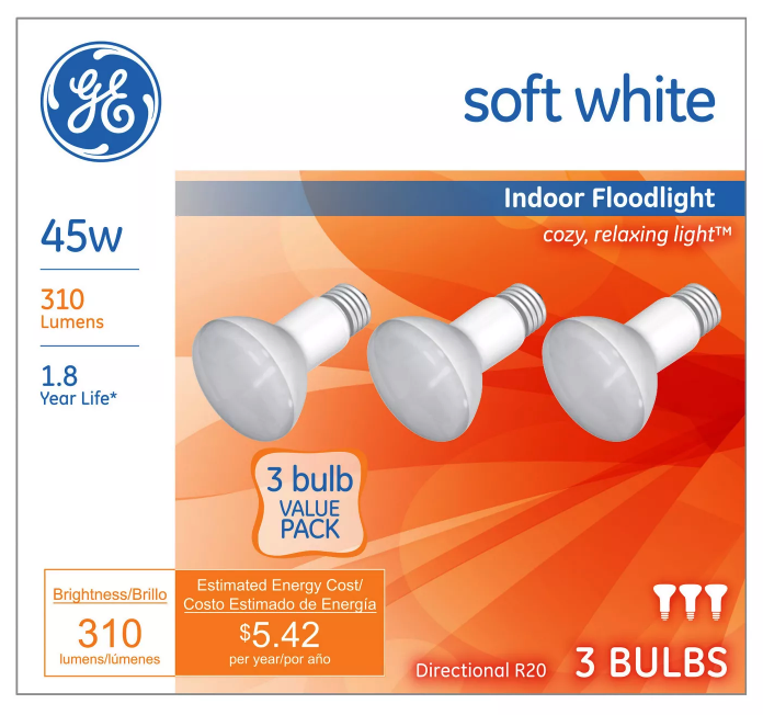 3 Pack General Electric 45w R20 Incandescent Light Bulb White Indoor Floodlight