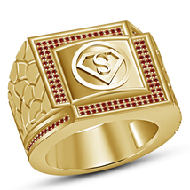 18k Gold Plated 925 Silver Round Cut Red Garnet Superman Symbol Men's Ba... - $146.99