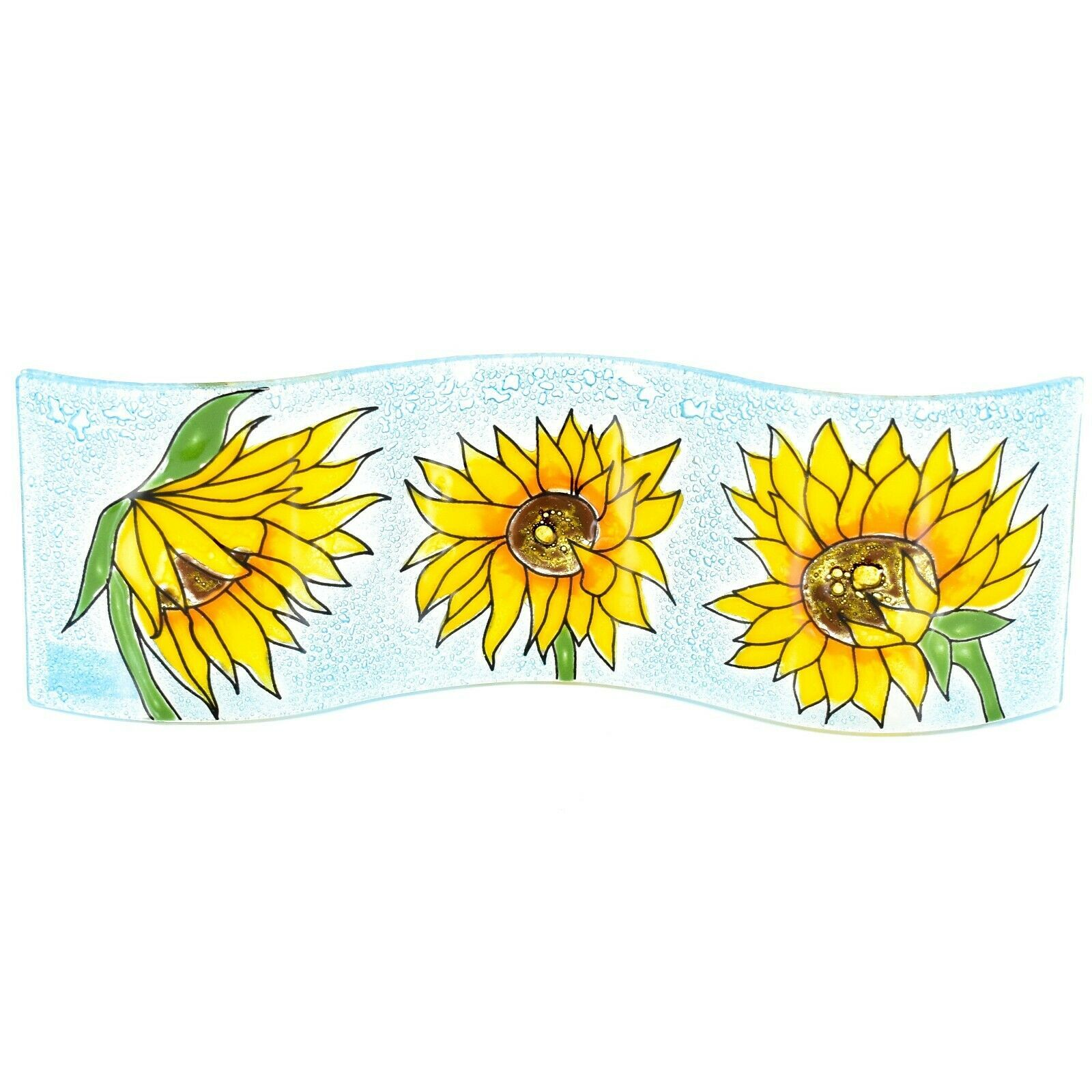 Fused Art Glass Sunflowers Flowers Wavy Decor Piece Handmade in Ecuador