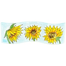 Fused Art Glass Sunflowers Flowers Wavy Decor Piece Handmade in Ecuador image 1