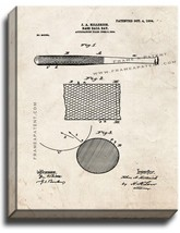 Baseball Bat Patent Print Old Look on Canvas - $39.95+