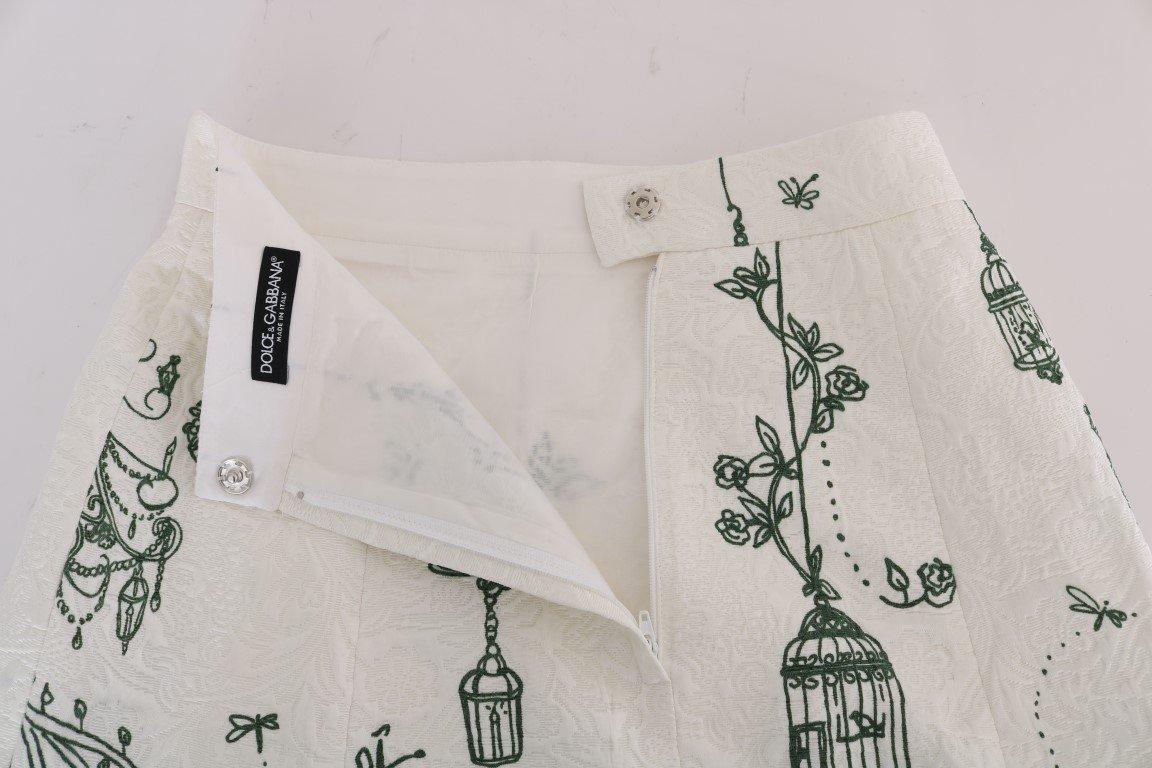 Dolce & Gabbana White Garden Print Crepe Skirt