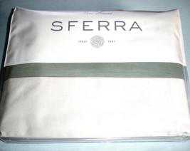 Sferra Casida King Duvet Cover White/Seagreen Cotton Percale w/Applique Band New - $324.90