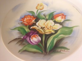 "VINTAGE HAND PAINTED PLATE ORANGE PURPLE YELLOW ROSES-SIGNED Takus  8.5"" - $17.77"