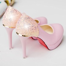 pp308 Shimmering rhinestones high-heeled pump US Size 4-9 pink - $52.80
