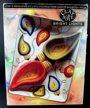 Clay Art Chip Dip Platter Bright Lights Christmas Hand Painted 4997 In B... - $24.27