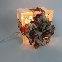 Holiday Decoration Lighted Glass Block Gold Red Green Ribbon Electric Light - $16.43