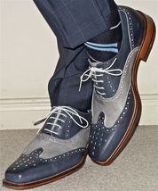 Handmade men fashion wingtip two tone shoes, Men navy and gray brogue shoes - $159.99