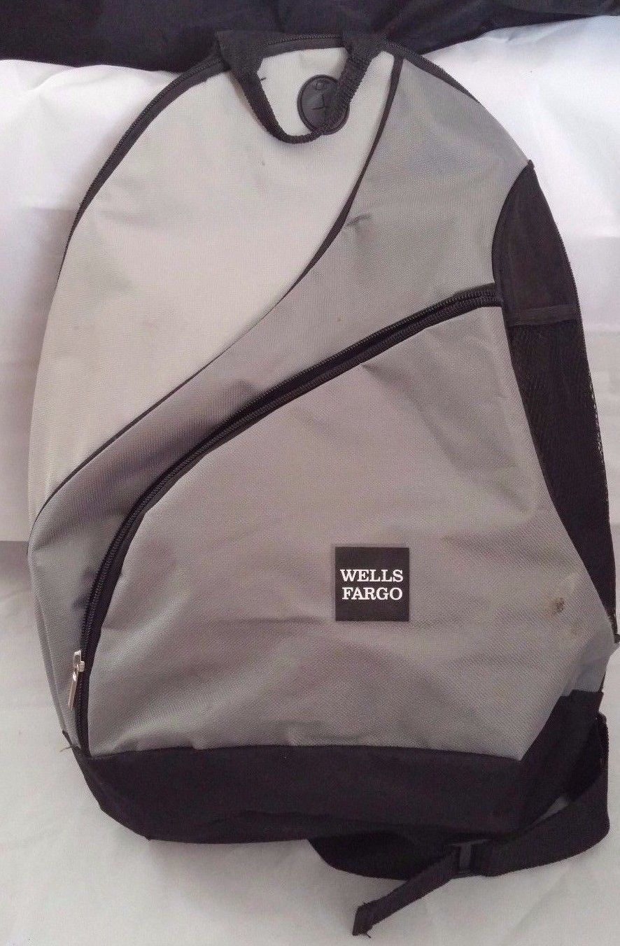 8a05d1fa9964 Wells Fargo Company Back Pack Book Shoulder Bag School Work 1 Strap Gray  Black