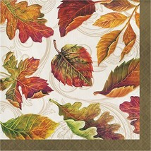 Colors of the Wind Thanksgiving Fall Leaves 16 Ct Lunch Paper Napkins - $4.06