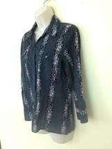 DKNY Jeans Womens sz 8 Black Floral Pearl Snap 3/4 Sleeve Shirt - $16.78