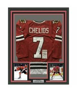 FRAMED Autographed/Signed CHRIS CHELIOS 33x42 Blackhawks Red Jersey JSA COA Auto - $399.99