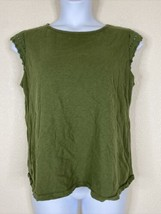J. By J. Crew Womens Size XL Green Round Neck Blouse Eyele Cap Sleeve - $14.85
