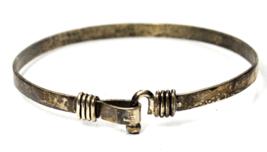 "Sterling Silver HC Signed Latch Hook Large Round Bangle Bracelet 12mm 9"" - $49.49"