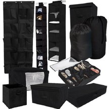 10 Piece Durable Black Storage Set Closet College Dorm Clothing Shoes La... - $86.08