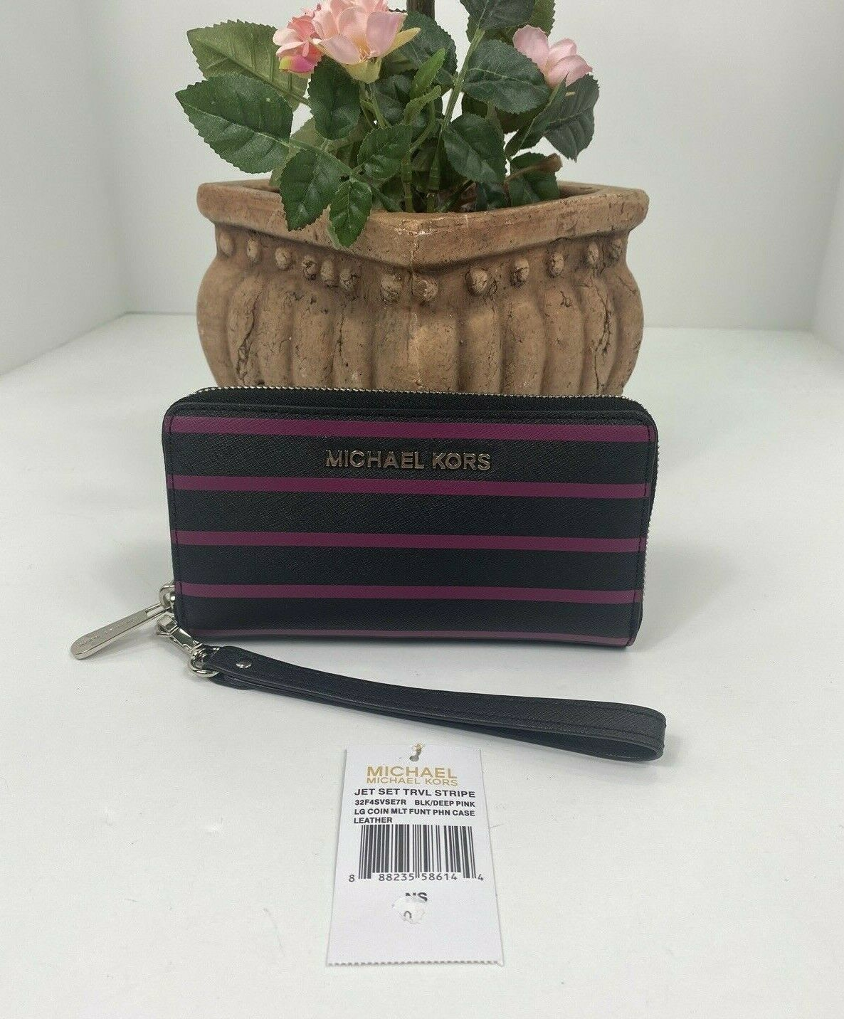 Primary image for New Michael Kors Wallet Jet Set Coin Phone Black Pink Stripe Leather Zip W10