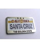 US California The Golden State Santa Cruz License Plate Pin Badge 1.2 In... - $4.85
