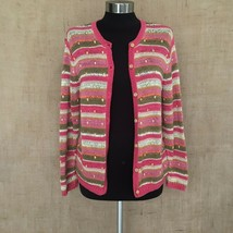 Talbots Pink Green Cream Cardigan Bead Detail Long Sleeve Button Front S... - $26.71