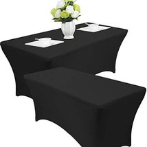 Reliancer 2 Pack 4\6\8FT Rectangular Spandex Table Cover Four-Way Tight ... - $45.92