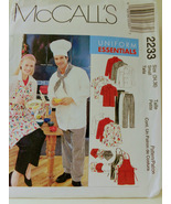 McCalls 2233 Sewing Pattern Womens and Mens Chef Uniform, Aprons  Size 3... - $10.99