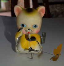Vintage Tin Cat Butterfly Catcher Metal Toy Wind Up Spring MASUDAYA Japan 1960's image 3