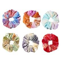 6 Pcs Colorful Tie-dye Hair Scrunchies Winter Velvet Hair Band Ponytail Holder E