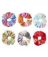 6 Pcs Colorful Tie-dye Hair Scrunchies Winter Velvet Hair Band Ponytail ... - $15.69