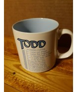 "Todd Meaning Clever Coffee mug/ white with blue ceramic/see pictures/3.5"" - $9.50"