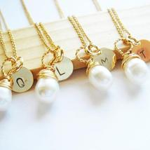 Gold Monogram Pearl Bridesmaid Necklace - Handmade Gift - $35.00+